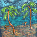Swinging Palms, painting by Amy Rice