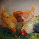 Chicken Feast, Oil painting by Cecilia Capitanio
