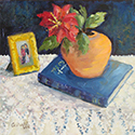Orange Vase and Book, Oil painting by Cecilia Capitanio