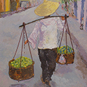 Street Vendor, Acrylic painting by Cecilia Capitanio