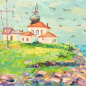 Watch Hill Light, Rhode Island, Acrylic painting by Cecilia Capitanio