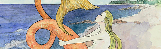 Mermaid at Loop Beach - Watercolor and Ink by Jessie Nickerson